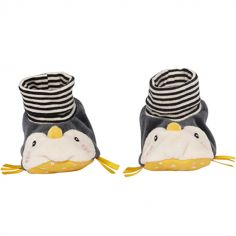 Chaussons en tissu pingouin Les Nanouks (0-6 mois)