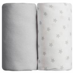 Lot de 2 draps housses étoile gris (60 x 120 cm)