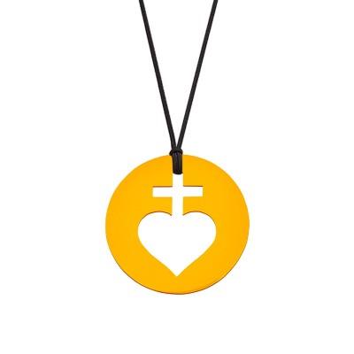 Collier cordon médaille Mini Sacré Coeur 10 mm (or jaune 750°) Maison La Couronne