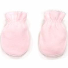 Moufles de naissance velours en coton rose