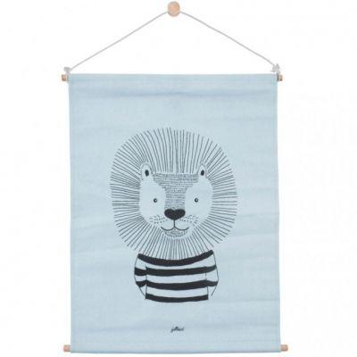 Affiche kakemono en tissu Lion bleu (42 x 60 cm)  par Jollein