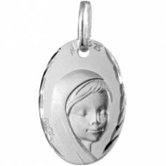 Médaille ovale Vierge 16 mm facettée (or blanc 375°)