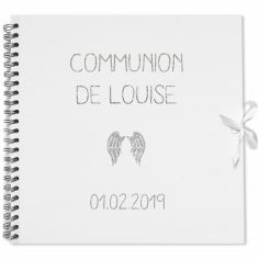 Album photo communion personnalisable blanc et argent (30 x 30 cm)