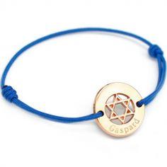 Bracelet cordon Etoile de David (plaqué or jaune)