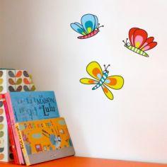 Stickers 3 papillons bleu, rouge, jaune