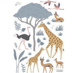 Planche de stickers A3 Girafe, gazelle et flamants