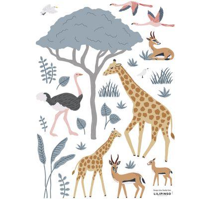 Planche de stickers A3 Girafe, gazelle et flamants Lilipinso