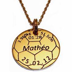 Médaille de naissance ballon de foot avec chaîne (plaqué or jaune)