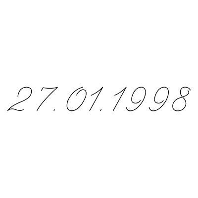 Gravure date en chiffres sur bijou  (Typo 9 Script)  par Gravure magique