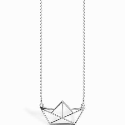 Collier chaîne 40 cm pendentif Origami bateau 20 mm (argent 925°)  par Coquine