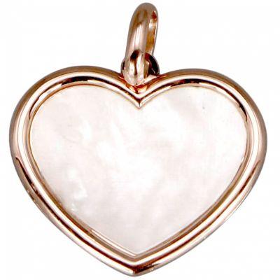Médaille nacre cœur personnalisable (or rose 18 carats)  par Aubry-Cadoret