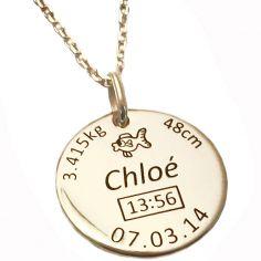 Médaille de naissance ronde avec chaîne personnalisable (plaqué or jaune)