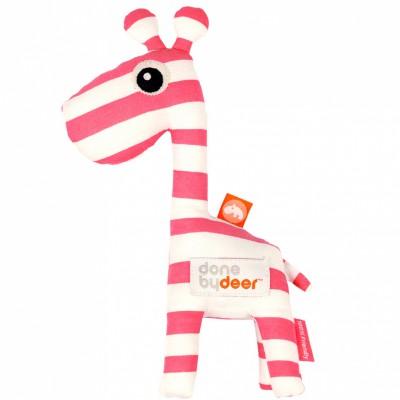 Peluche hochet grelot Raffi la girafe rose framboise (24 cm) Done by Deer