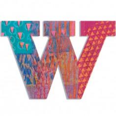 Lettre W en bois Paon