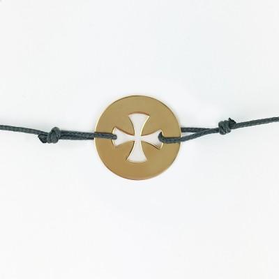 Bracelet cordon bébé médaille Signes Croix égale 16 mm (or jaune 750°) Maison La Couronne