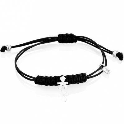Bracelet cordon noir Briciole garçon (or blanc 750° et diamant)  par leBebé