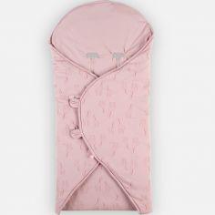 Couverture nomade en jersey bio Mix & Match rose