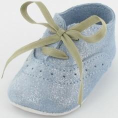 Chaussons bébé cuir et paillettes Dida bleu clair (0-6 mois)