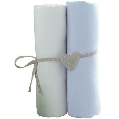 Lot de 2 draps housses blanc et ciel (70 x 140 cm)  par Babycalin