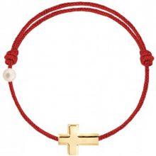 Bracelet cordon Croix et perle rouge (or jaune 750°)  par Claverin