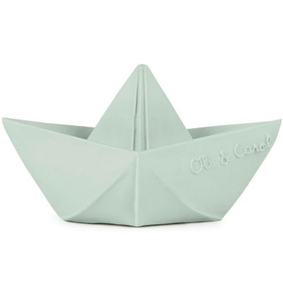 Jouet de bain bateau origami latex d'hévéa vert d'eau  par Oli & Carol