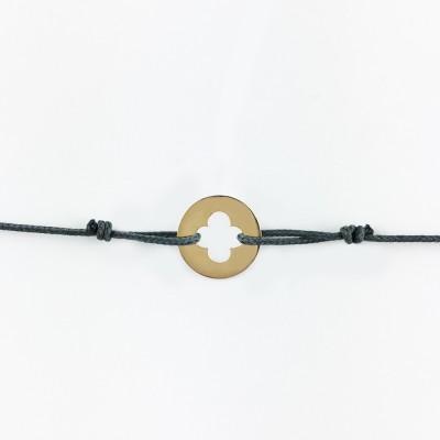 Bracelet cordon bébé médaille Mini Croix Romane 10 mm (or jaune 750°) Maison La Couronne