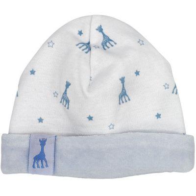 Bonnet en coton bleu Sophie la girafe (1-3 mois)  par Trois Kilos Sept