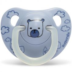 Sucette physiologique Night & Day Ourson bleu en silicone (0-6 mois)