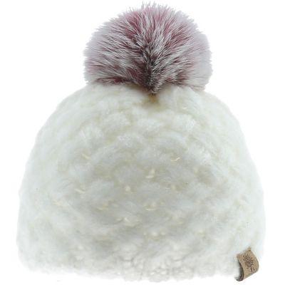Bonnet en tricot à pompon écru (0-6 mois)