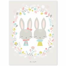 Poster enfant lapins Sweet Bunnies by Flora Waycott (30 x 40 cm)  par Lilipinso