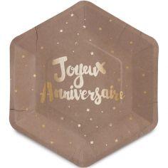 Assiettes en carton Doré joyeux anniversaire (8 pièces)
