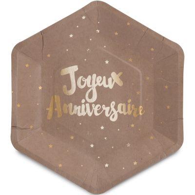 Assiettes en carton Doré joyeux anniversaire (8 pièces)  par Arty Fêtes Factory
