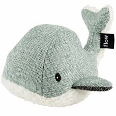 Peluche bruit blanc baleine Moby vert d'eau (21 cm)