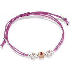 Bracelet cordon magenta 1 cube fille 2 cubes coeur (or rose 375° et argent 925°)