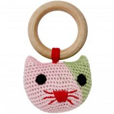 Hochet anneau Heidi le chat en crochet de coton bio (12 cm)