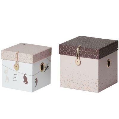Lot de 2 boîtes de rangement carrées roses  par Done by Deer
