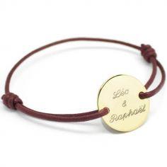 Bracelet cordon maman Le chic personnalisable (plaqué or)