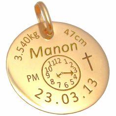 Médaille personnalisable avec croix (or jaune 750°)