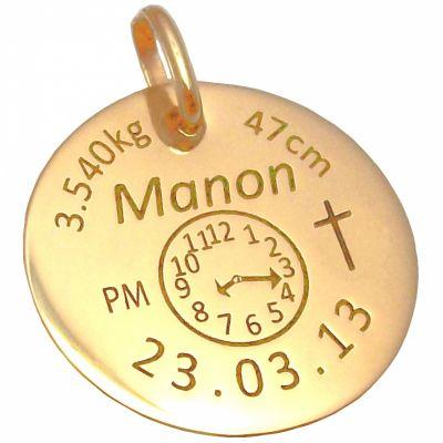 Médaille personnalisable avec croix (or jaune 750°)  par Alomi
