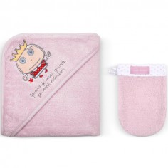 Cape de bain et gant Quand je serai grande je serai princesse