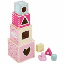 Cubes empilables Pink Blossom (4 cubes)  par Little Dutch