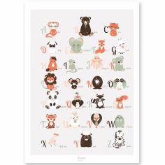 Affiche A4 abécédaire des animaux anglais