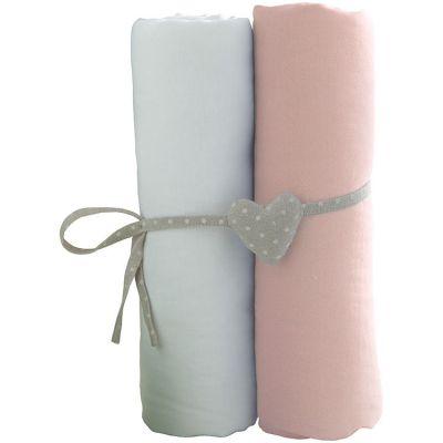Lot de 2 draps housses blanc et rose (60 x 120 cm)  par Babycalin
