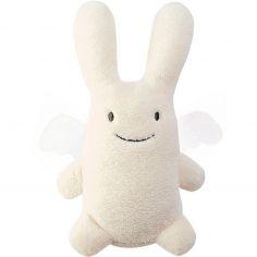 Ange lapin musical ivoire et pochette de rangement en coton (24 cm)
