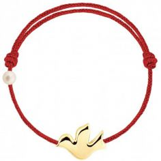 Bracelet cordon Colombe et perle rouge (or jaune 750°)