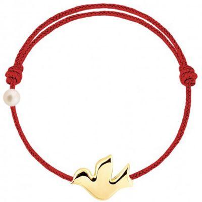 Bracelet cordon Colombe et perle rouge (or jaune 750°)  par Claverin