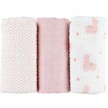 Lot de 3 langes en coton bio lama rose Mix & match (70 x 70 cm)  par Noukie's