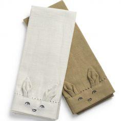 Lot de 2 serviettes de table Lily White / Warm sand
