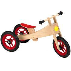 Tricycle et draisienne 2 en 1 en bois naturel
