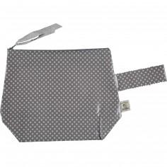 Trousse en coton enduit étoile grise (25 x 30 cm)